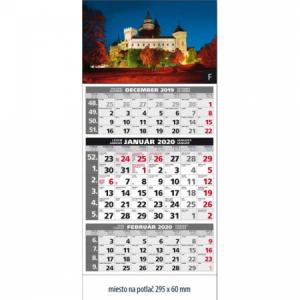 Plánovací kalendár štandard 3-mesačný sivý 295x663 mm 2020