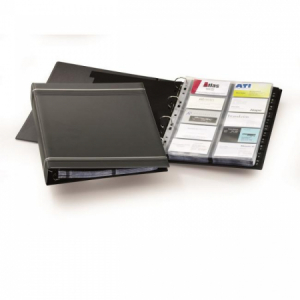Vizitkár prenosný 4-krúžkový na 400 vizitiek VISIFIX A4 čierny