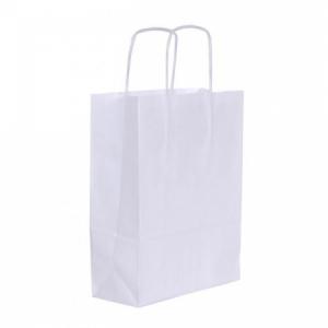 Papierová taška, stáčané ušká, 180x80x240mm, biela