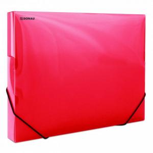Plastový box s gumičkou DONAU priehľadný červený
