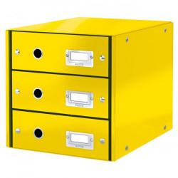 Zásuvkový box Leitz Click & Store 3 zásuvky žltý