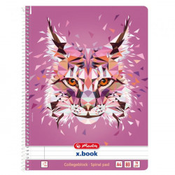 Blok poznámkový College Herlitz Wild Animals A4 80 listov linajkový rys