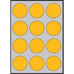 Etikety farebné priemer 60mm APLI A4 20 hárkov fluo oranžové