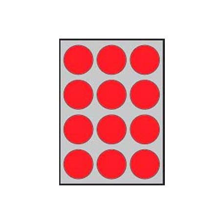 Etikety farebné priemer 60mm APLI A4 20 hárkov fluo červené