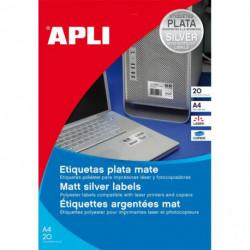 Etikety polyesterové 63,5x29,6mm APLI A4 20 hárkov strieborné