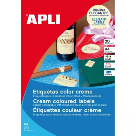 Etikety farebné 210x297mm APLI A4 20 hárkov krémové