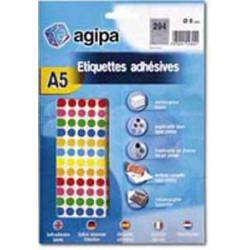 Etikety kruhové 8mm Agipa A5 mix 7 farieb