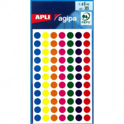 Etikety kruhové 8mm APLI mix farieb