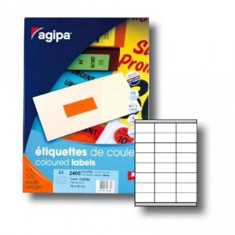 Etikety farebné 70x35mm APLI A4 100 hárkov fluo oranžové