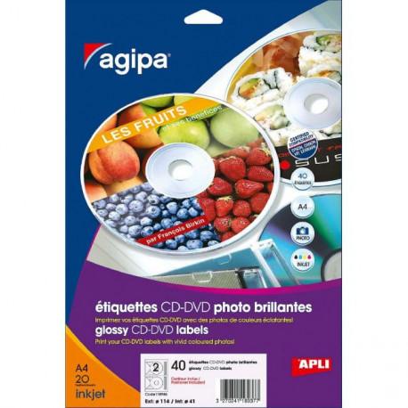 Etikety univerzálne na CD/DVD priemer 114mm Agipa 100 hárkov
