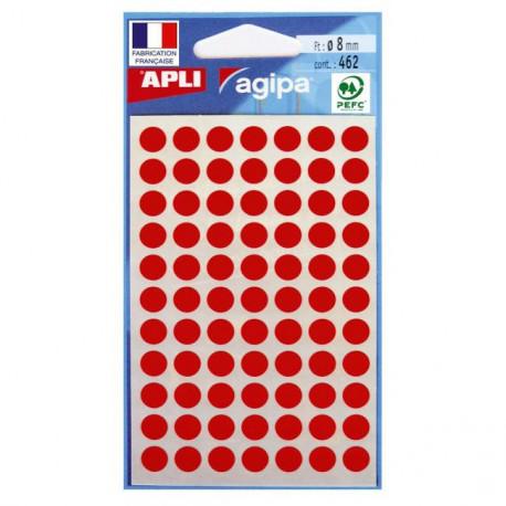 Etikety kruhové 8mm APLI červené