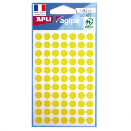 Etikety kruhové 8mm APLI žlté