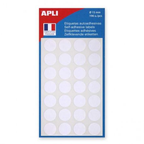 Etikety kruhové 15mm APLI biele