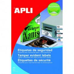 Etikety bezpečnostné 45,7x21,2mm APLI A4 10 hárkov