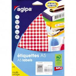 Etikety kruhové 8mm Agipa A5 červené