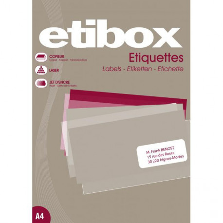Etikety univerzálne 38x21,2mm Etibox A4 100 hárkov