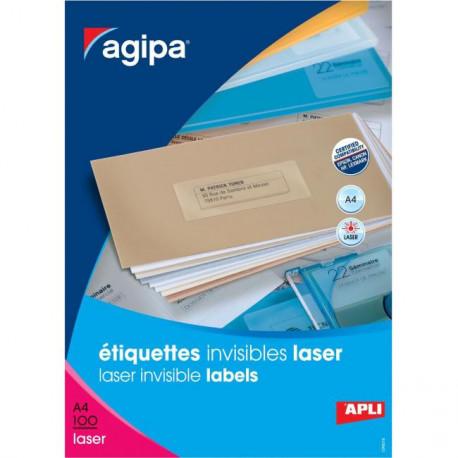 Etikety polyesterové priehľadné 70x37mm Agipa A4 laser 100 hárkov