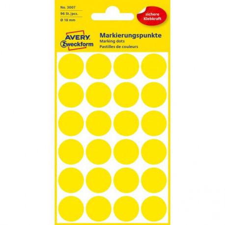 Etikety kruhové 18mm Avery žlté