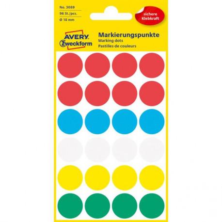 Etikety kruhové 18mm Avery mix farieb