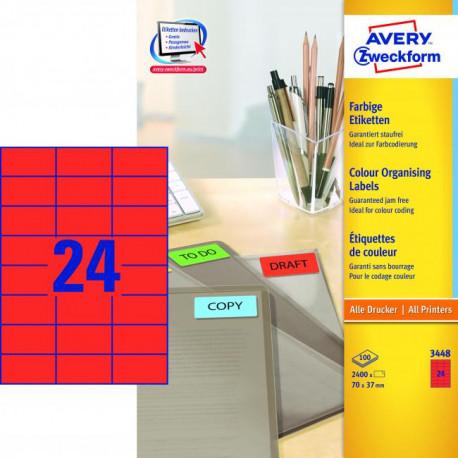 Etikety farebné 70x37mm Avery A4 100 hárkov červené