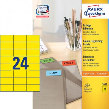 Etikety farebné 70x37mm Avery A4 100 hárkov žlté