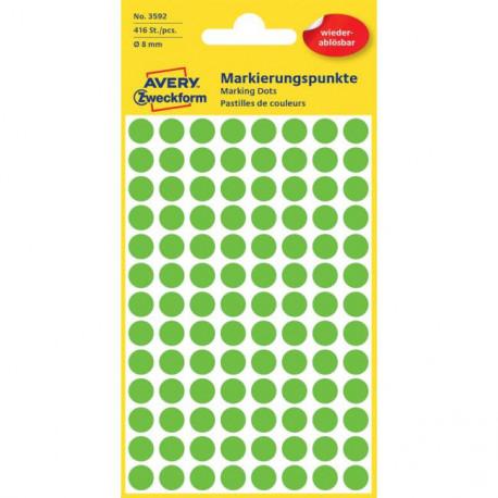 Etikety kruhové 8mm Avery odnímateľné zelené