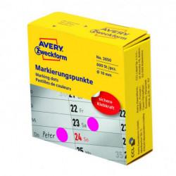 Etikety kruhové 10mm Avery purpurové v dispenzore