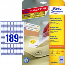 Etikety univerzálne odnímateľné 25,4x10mm Avery A4 25+5 hárkov