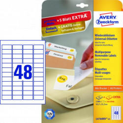 Etikety univerzálne odnímateľné 45,7x21,2mm Avery A4 25+5 hárkov