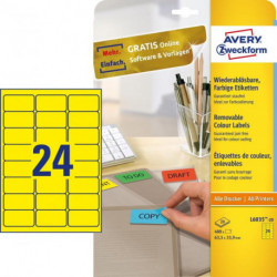 Etikety Avery odnímateľné 63,5x33,9 mm, žlté