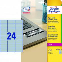 Etikety polyesterové 70x37mm Avery A4 strieborné 20 hárkov