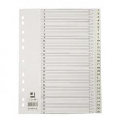 Plastový rozraďovač Q-Connect 31-dielny maxi sivý